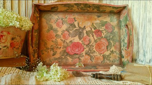 """Кухня ручной работы. Ярмарка Мастеров - ручная работа. Купить """"Царство роз""""  Поднос.. Handmade. Поднос, шебби стиль"""