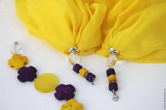 Шарф-колье трансформер `Желто-фиолетовый` из вискозы, кошачьего глаза, говлита, хрусталя от RStone Ротачевой Ольги, отличный подарок
