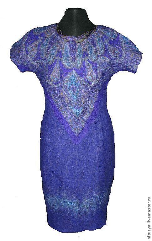 Платья ручной работы. Ярмарка Мастеров - ручная работа. Купить Платье синее. Handmade. Тёмно-синий, пейсли, валяное платье