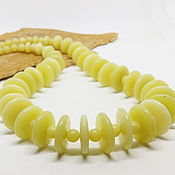 Работы для детей, handmade. Livemaster - original item Jade beads Lemon and honey 51 cm. Handmade.