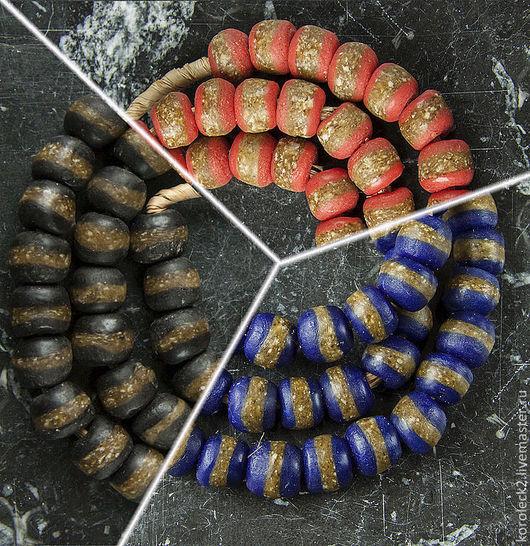Для украшений ручной работы. Ярмарка Мастеров - ручная работа. Купить Африканские этнические кробо-бусины разного цвета с полосой. Handmade.