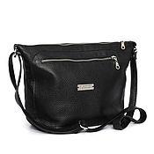 Сумки и аксессуары handmade. Livemaster - original item Black soft case bag with shoulder strap leather. Handmade.