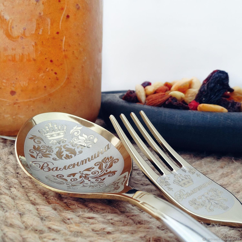 Именной столовый набор 2 предмета ложка вилка, Ложки, Москва,  Фото №1