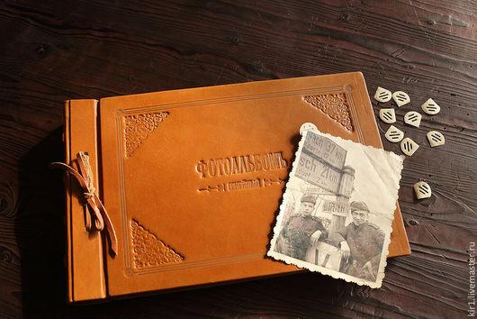 """Фотоальбомы ручной работы. Ярмарка Мастеров - ручная работа. Купить Фотоальбом в """"Ретро"""" стиле. Handmade. Рыжий, кожанный фотоальбом"""
