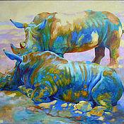 Картины и панно handmade. Livemaster - original item Oil painting on canvas. Love rhinos. blue.. Handmade.
