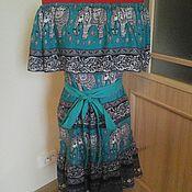 """Одежда ручной работы. Ярмарка Мастеров - ручная работа платье  из штапеля """"слоны"""". Handmade."""