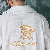 """Одежда ручной работы. Ярмарка Мастеров - ручная работа Халат с вышивкой """"Глава семьи"""". Handmade."""