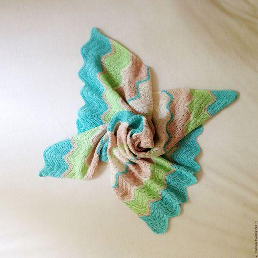 Пледы и одеяла ручной работы. Ярмарка Мастеров - ручная работа. Купить Плед зеленые луга, лазурные реки. Handmade. Комбинированный