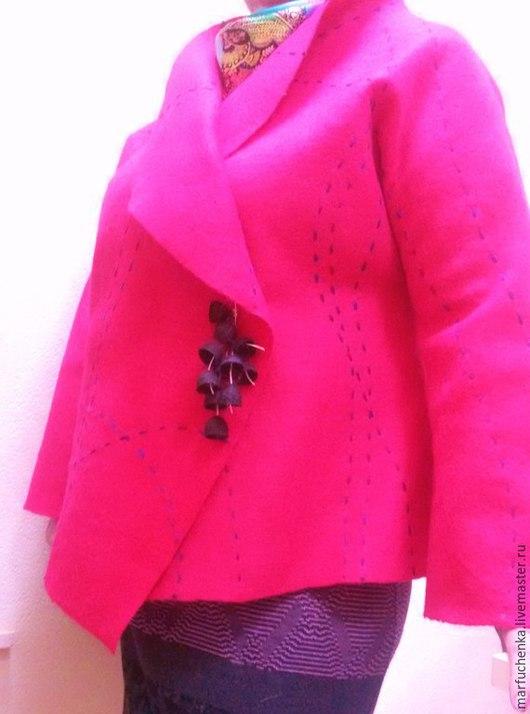 """Большие размеры ручной работы. Ярмарка Мастеров - ручная работа. Купить Жакет """"Сочная роза"""". Handmade. Розовый, пальто розовое"""