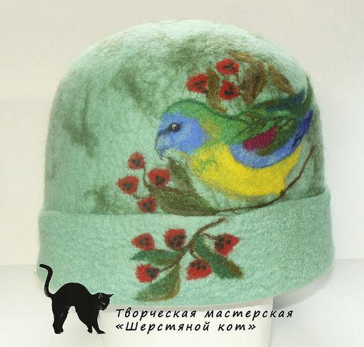 """Банные принадлежности ручной работы. Ярмарка Мастеров - ручная работа. Купить Женская войлочная банная шапка """"Яркий попугай"""". Handmade."""