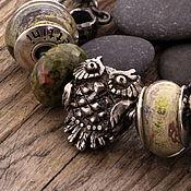 """Украшения ручной работы. Ярмарка Мастеров - ручная работа """"Сова"""" серебряная бусина для браслетов. Handmade."""