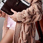 Одежда handmade. Livemaster - original item Description on cardigan with large knit hearts. Handmade.