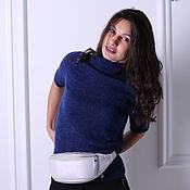 Одежда handmade. Livemaster - original item Jumper Raglan blue mohair and Merino, sleeve 3/4