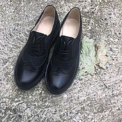 Обувь ручной работы handmade. Livemaster - original item Inspektor oxfords black nubuck/leather black tread sole. Handmade.