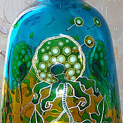 Посуда handmade. Livemaster - original item Bottle Dandelions, stained glass painting. Handmade.