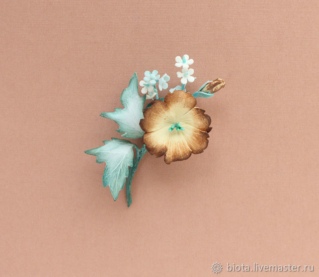 Брошь цветочек бежевый серый бирюзовый коричневый, Броши, Москва, Фото №1