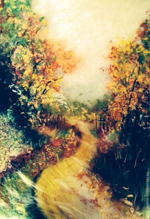 """Пейзаж ручной работы. Ярмарка Мастеров - ручная работа. Купить Картина из шерсти """"Осенний пейзаж"""". Handmade. Шерсть 100%"""