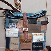 Классическая сумка ручной работы. Ярмарка Мастеров - ручная работа Джинсовая сумка с лейблами. Handmade.