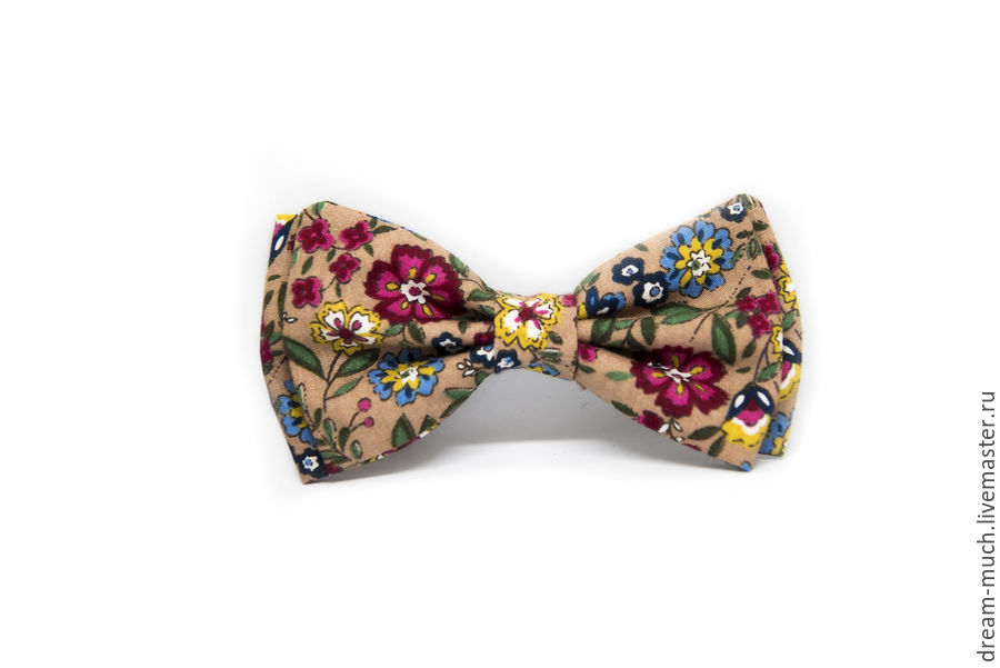 Bow tie beige with flowers, Ties, Moscow,  Фото №1