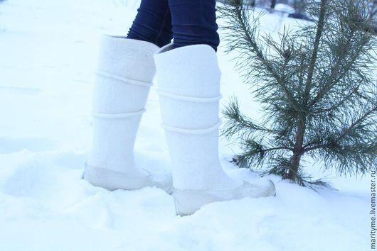 """Обувь ручной работы. Ярмарка Мастеров - ручная работа. Купить Валенки """"Снегурочка"""". Handmade. Белый, войлок"""