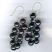Украшения handmade. Livemaster - original item Silver earrings with black pearls. Handmade.