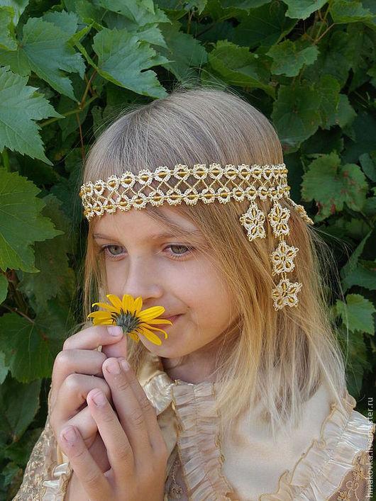 """Диадемы, обручи ручной работы. Ярмарка Мастеров - ручная работа. Купить Очелье """"Златоцвет"""". Handmade. Золотой, украшение для волос"""