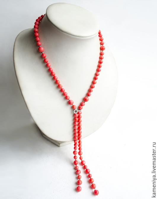 Колье, бусы ручной работы. Ярмарка Мастеров - ручная работа. Купить Колье-галстук из розового коралла. Handmade. Розовый