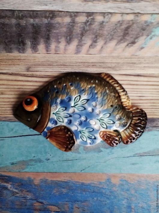 Декор поверхностей ручной работы. Ярмарка Мастеров - ручная работа. Купить Рыба панно  4,1. Handmade. Бирюзовый, синий