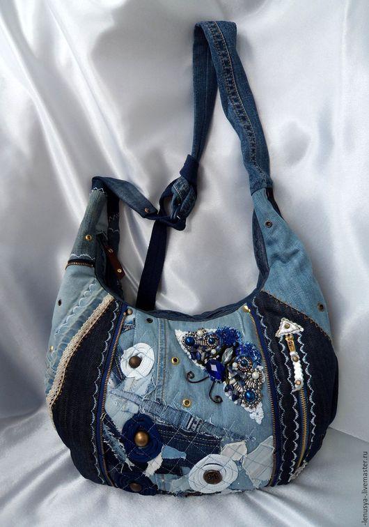 """Женские сумки ручной работы. Ярмарка Мастеров - ручная работа. Купить Джинсовая сумка """"ВИВЬЕН"""". Handmade. Синяя сумка, люверсы"""