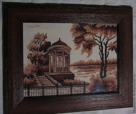 """Пейзаж ручной работы. Ярмарка Мастеров - ручная работа. Купить Вышитая крестиком картина """"Беседка у реки"""". Handmade. Коричневый, монохром"""