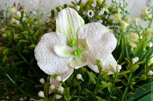 Свадебные украшения ручной работы. Ярмарка Мастеров - ручная работа. Купить Шпилька для прически Орхидея. Handmade. Белый, хрустальные бусины