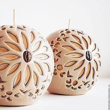 Сувениры и подарки ручной работы. Ярмарка Мастеров - ручная работа Резные интерьерные свечи шары - бежевый коричневый персиковый. Handmade.