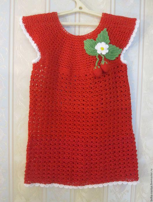 """Одежда для девочек, ручной работы. Ярмарка Мастеров - ручная работа. Купить Платье """"Клубничка"""". Handmade. Ярко-красный, клубничное платье"""