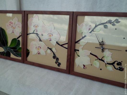 """Часы для дома ручной работы. Ярмарка Мастеров - ручная работа. Купить Часы триптих """"Ветка орхидеи"""". Handmade. Белый"""