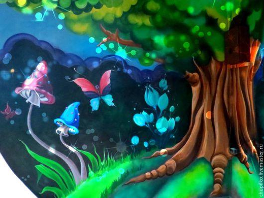 Детская ручной работы. Ярмарка Мастеров - ручная работа. Купить Волшебный лес. Handmade. Зеленый, розовый, роспись стен, детская