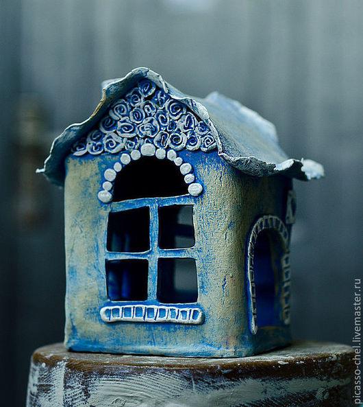 """Подсвечники ручной работы. Ярмарка Мастеров - ручная работа. Купить Подсвечник """"Синий домик"""" керамика. Handmade. Синий, горшочек, домик"""