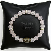 Украшения handmade. Livemaster - original item Bracelet pink quartz bead with Dzi 3 eyes. Handmade.