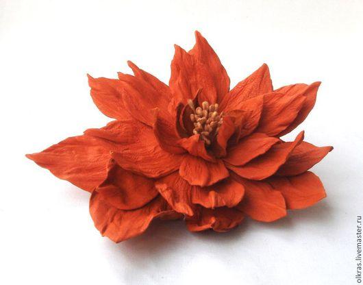 """Броши ручной работы. Ярмарка Мастеров - ручная работа. Купить Цветы из кожи. Брошь из кожи. """"Orange"""". Handmade. Оранжевый"""