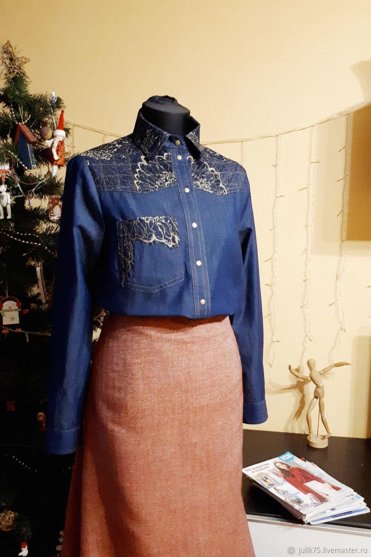 20302cb89c6 Блузки ручной работы. Ярмарка Мастеров - ручная работа. Купить Джинсовая  рубашка. Handmade.