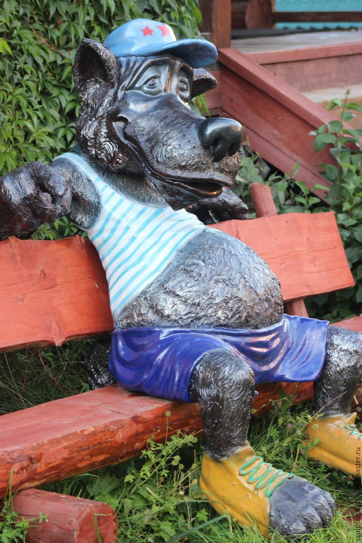 ручной работы. Ярмарка Мастеров - ручная работа. Купить волк на лавочке. Handmade. Волк, ручная работа, для фотосессий, стеклопластик, для парков
