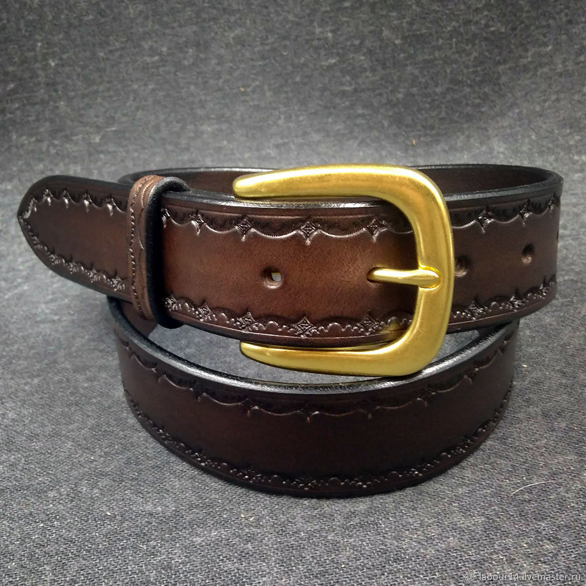 Belt, leather, embossed Dark brown, Straps, Sevsk,  Фото №1