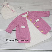 Работы для детей, handmade. Livemaster - original item cardigan Barbie with dress and hat. Handmade.
