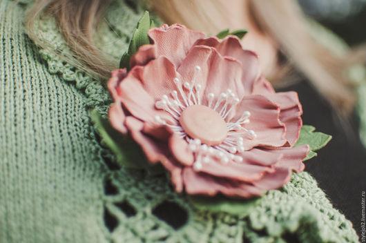 Цветы ручной работы. Ярмарка Мастеров - ручная работа. Купить Яблоневый цвет - цветок из кожи. Handmade. Бледно-розовый
