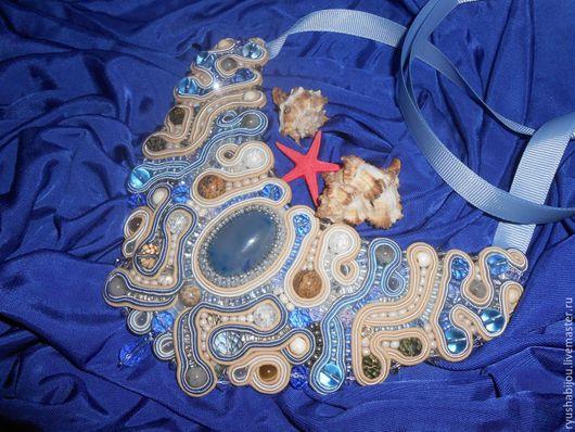 """Колье, бусы ручной работы. Ярмарка Мастеров - ручная работа. Купить Колье из натуральных камней """" Прибой"""". Handmade. Голубой"""