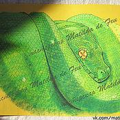 Картины и панно ручной работы. Ярмарка Мастеров - ручная работа Пастель. Изумрудная змея.. Handmade.