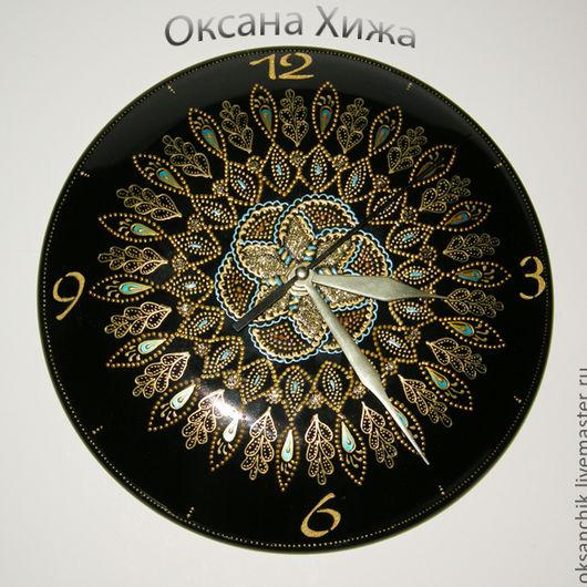 """Часы для дома ручной работы. Ярмарка Мастеров - ручная работа. Купить часы """"Вальс времени"""". Handmade. Часы, контуры по стеклу"""
