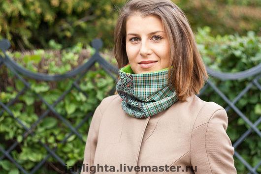 Scarves handmade. Livemaster - handmade. Buy Scarf 'Seagrey' №2.Scarf, green, tube scarf, fleece, len