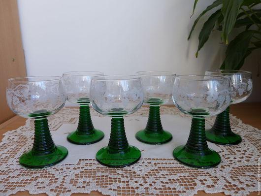 Винтажная посуда. Ярмарка Мастеров - ручная работа. Купить 5+1 Weinrоеmer – 5+1 стеклянных бокалов для вина с виноградной лозой н. Handmade.
