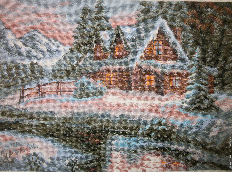 Вышивка крестиком домик в лесу