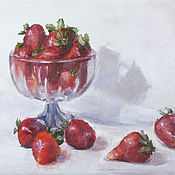 Pictures handmade. Livemaster - original item Oil painting. Still life with strawberries.. Handmade.